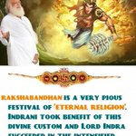 Asaram Bapu Jis Satsang-Sachi, queen of Lord Indra, tied holy thread on wrist of Indra #वैदिक_रक्षा_बंधन_WithBapuji http://t.co/VoBXtHDCua