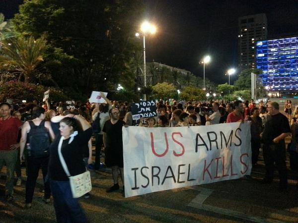 In defiance with govt silencing attempts, hundreds currently protesting in Tel Aviv against the Gaza massacre http://t.co/gzO2AMmet8