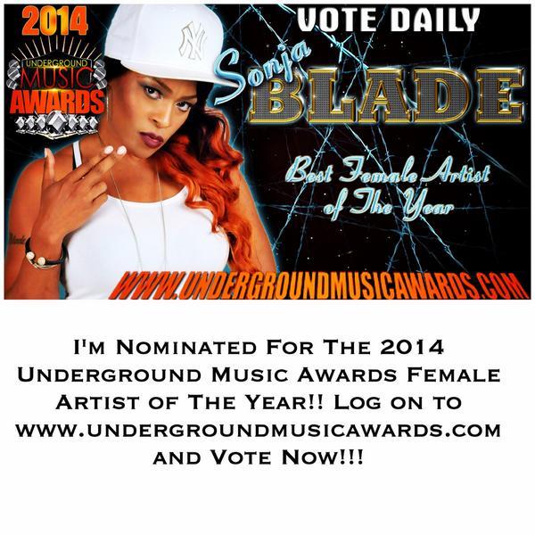 @DjKingAssassin I'M NOMINATED FOR THE 2014 UMA FEMALE ARTIST OF THE YEAR!! VOTE NOW! http://t.co/znGKA09X4I http://t.co/FP7gachcX0 RT