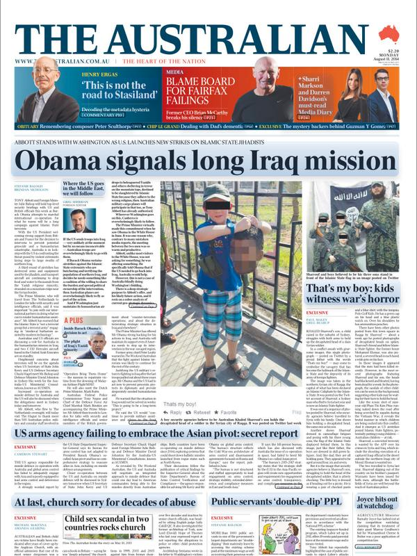 Unbelievable Australian front page today. Aussie terrorist's son holds up decapitated head of a slain Syrian soldier http://t.co/DNPpjBl03D