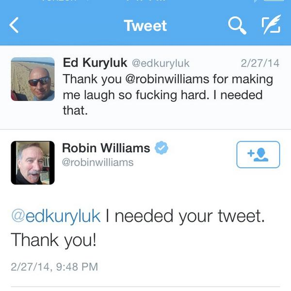 Going through his tweets, look at this. We can never say enough how much people mean to us. #RIPRobinWilliams http://t.co/SDiy7Ttoaz