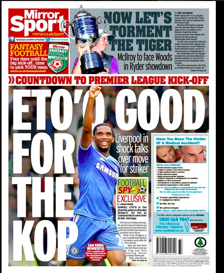 BuynVUKIEAE74TS Liverpool look to add depth to attack by recruiting free agent Samuel Etoo [Back Pages]