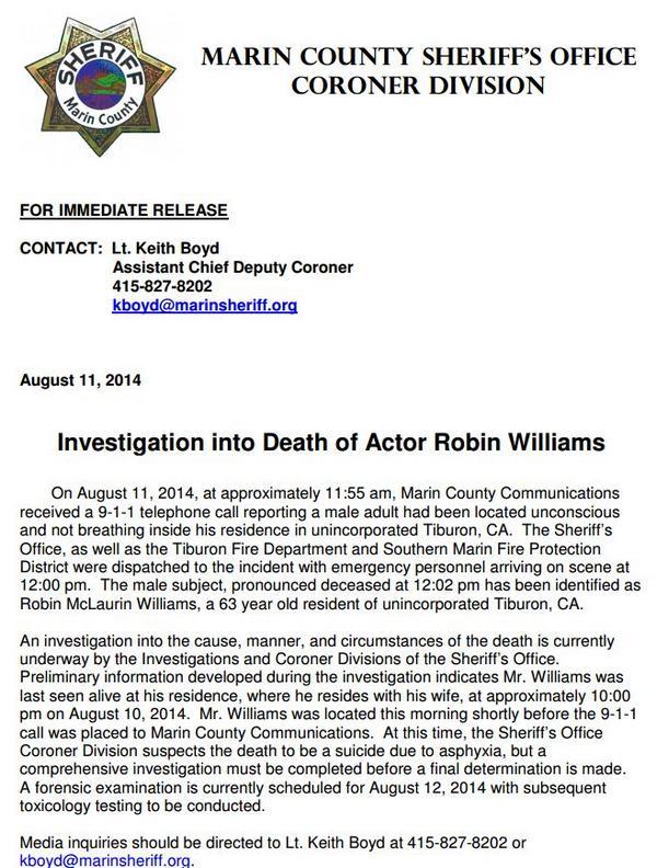 William Body Found Robin Williams Found Dead From