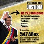 """RT @jennyatrujillog: Se necesitan 547 años para pagar gastos de Maduro ganando salario mínimo http://t.co/53Qrftk26i"""""""