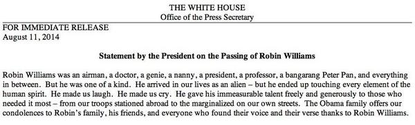 The @whitehouse statement on the passing of #RobinWilliams http://t.co/Yq8XV4tlGW