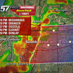 RT @TomCoomes: 2:05 PM StormTrack: Line of storms will reach Elkhart by 2:40 PM. Heavy rain, lightning, gusty wind. http://t.co/tfByShPZ7O