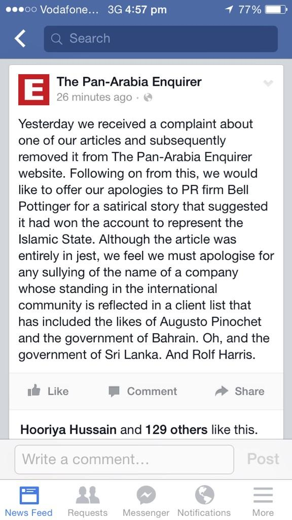 When you have to apologise ... RT @rachelannmorris Beat. Apology. Ever. Hit the nail on the head @arabiaenquirer http://t.co/odUzqyxOHf