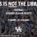 RT @UKAthletics: Students, do you have your @UKFootball season tickets yet? Get them at the Craft Center today. #ChangeTheGame http://t.co/…