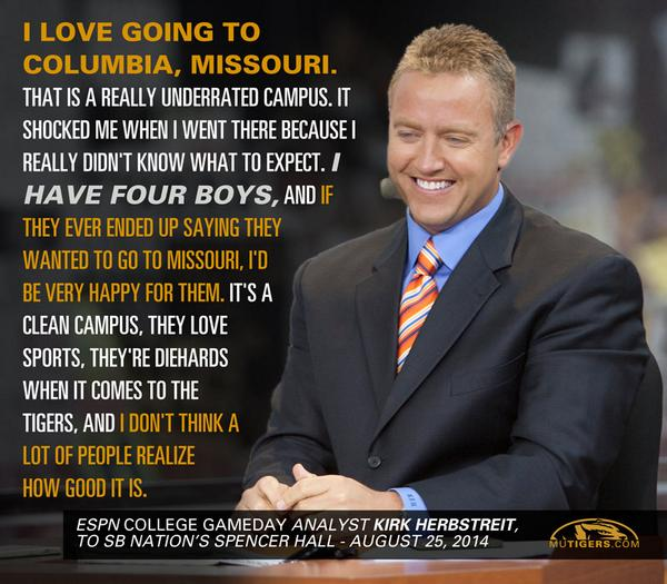 ICYMI, @KirkHerbstreit had some nice words for #CoMo & #Mizzou when asked for a bucket-list destination... http://t.co/WHzWHve7hz