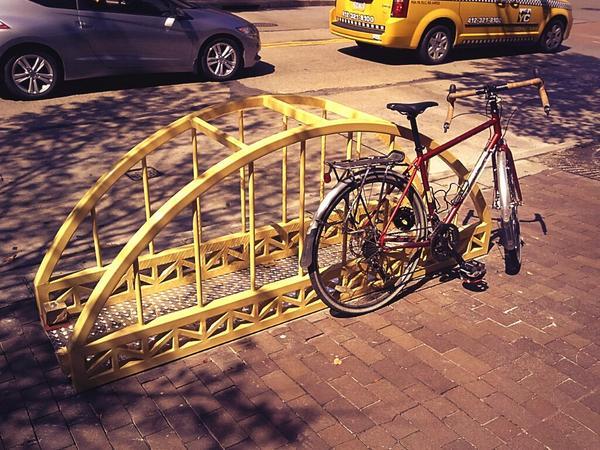 We're loving the sweet new public art bike rack near Convention Center @CulturalTrust  @billpeduto @DowntownPitt http://t.co/DRby3xIp5d