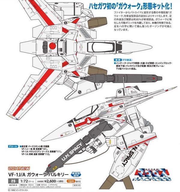 Hasegawa model Kit 1/72 MACROSS VF-1J/A Valkyrie Gerwalk Mode 2,600 Yens para diciembre 2014. http://t.co/fI6sPVGWTa