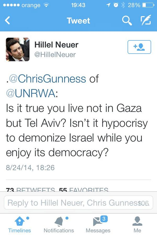 Wait... What??? @ChrisGunness of @UNRWA , u live in #TelAviv ??