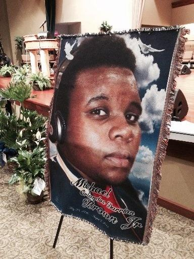 Tapestry inside sanctuary at Michael Brown's funeral. (full disclosure:  I did not snap this photo) http://t.co/6doJcgZ9BR