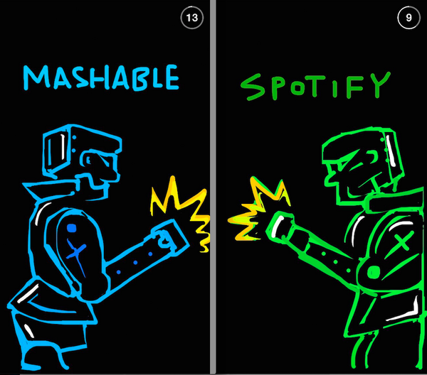 We're having a #MusicalBattle today against @Spotify. Follow @Mashable on Snapchat to check it out! http://t.co/PrVaBsaJt9