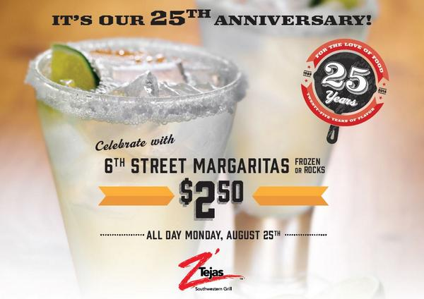 We turn 25 today and are celebrating with $2.50 6th street #margarita all-day! Thank you for all the support! http://t.co/bFfvvmleqb