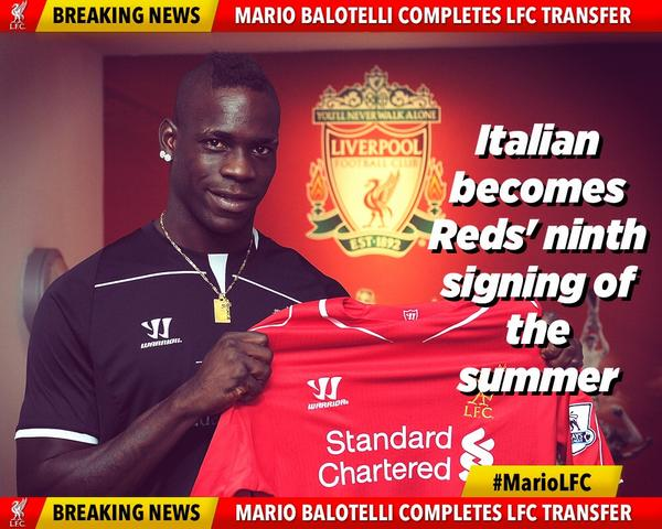 Confirmed: #LFC have today completed the signing of Italy international Mario Balotelli from AC Milan #MarioLFC http://t.co/iSrVb0P3Mw