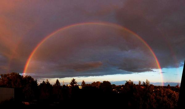 Dramatic rainbow almost at sunset over Demmin, Germany, this evening: AutoStitched - with flaws - from 3 wide shots. http://t.co/9VaLOlBi0p