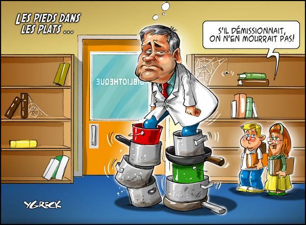 RT @G_Couture: Yves Bolduc ou l'art de se mettre les pies dans les plats. Caricature d'Ygreck.  #PolQC #AssNat #Cynisme http://t.co/EEP2up3j7p