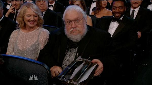 GRRM is not happy with your jokes. #Emmys http://t.co/pGeD9ROWoM