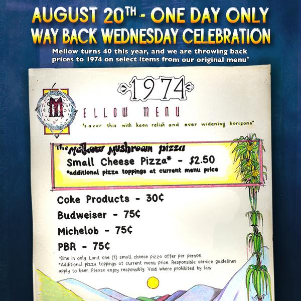 Mellow Mushroom turns 40 this year and we are throwing back prices to 1974 on August 20th! http://t.co/lzqdmzFJ1e http://t.co/pk4pRUWv28