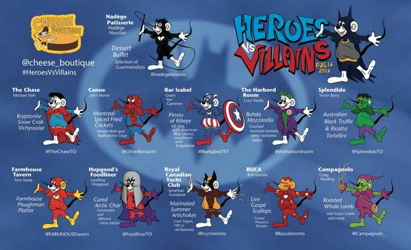 Finally revealed #HeroesVsVillains MENU!  Super spontaneous? 416 762 6292  6 new tickets now available! http://t.co/6hgWs2Zjcd