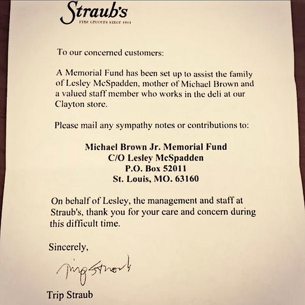 THIS is what we need to more of... Community. Compassion. Care. Contribution. #ferguson #mikebrown @StraubsMarkets http://t.co/mQbFBRJTKe