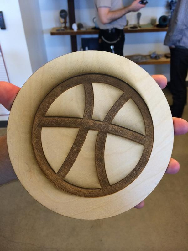 What better use of $250k worth of Autodesk machinery than to laser-cut a @dribbble logo in seconds? http://t.co/dCFOfPyxSI