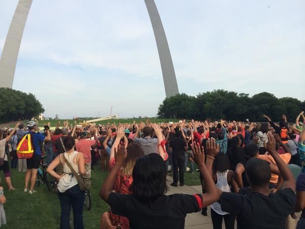 "Chants of ""Hands up! Don't shoot!"" It's a battle cry you hear a lot in #Ferguson. #MichaelBrown http://t.co/66IIPPn6r3"