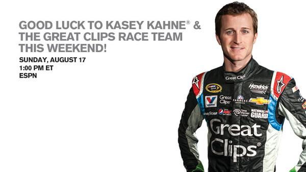 It's almost race time! Can't wait to go hoarse cheering on @kaseykahne & @TeamHendrick in the @GREATracing #5. http://t.co/b2cVpEjnB5