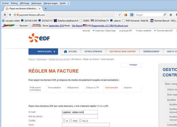 ATTENTION : le site payment-facture-edf(.)com n'est pas un site @EDFofficiel @edf_client - Phishing en cours. @zataz http://t.co/XRAVVVebbd