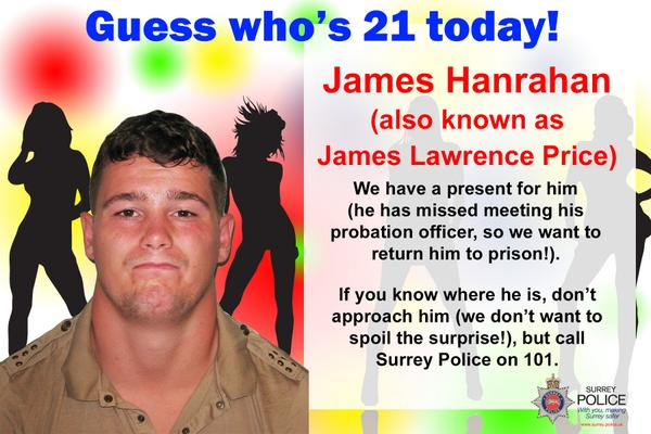 Happy Birthday to you Happy Birthday to you Happy Birthday James Hanrahan We want to speak to you!  #Happy21stJames http://t.co/fd0m7ld59B