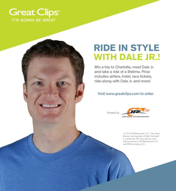 Airfare for 2. 3 nights hotel. Tickets to the race. And A RIDE WITH @DaleJr! Enter to win it: http://t.co/HTT8PTkoqk http://t.co/CV8Gvyga1z