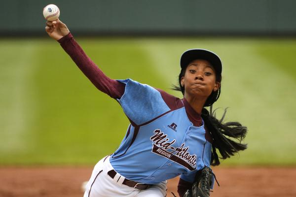 Mo'Ne Davis dominates against Nashville in first LLWS game. Two-hit shutout, top speed 70mph. Get em! http://t.co/5BYcMmn5Bb