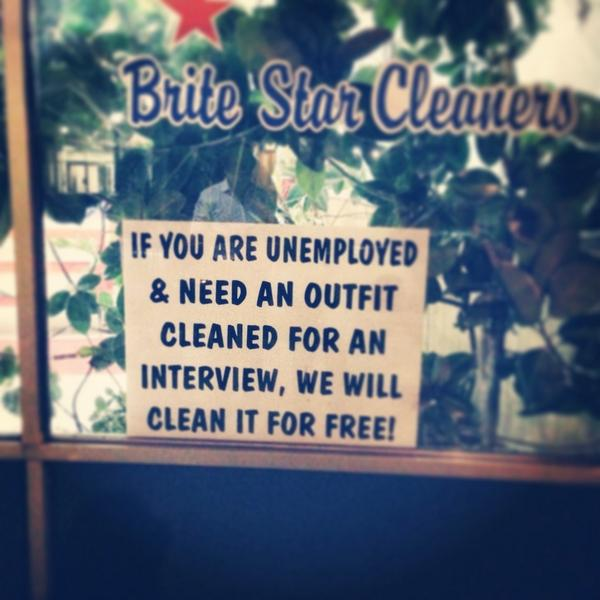 My #feelgood moment of the week was when I walked by a dry cleaner on @RoncesVillage and saw this in the window: http://t.co/qLacXk8goh