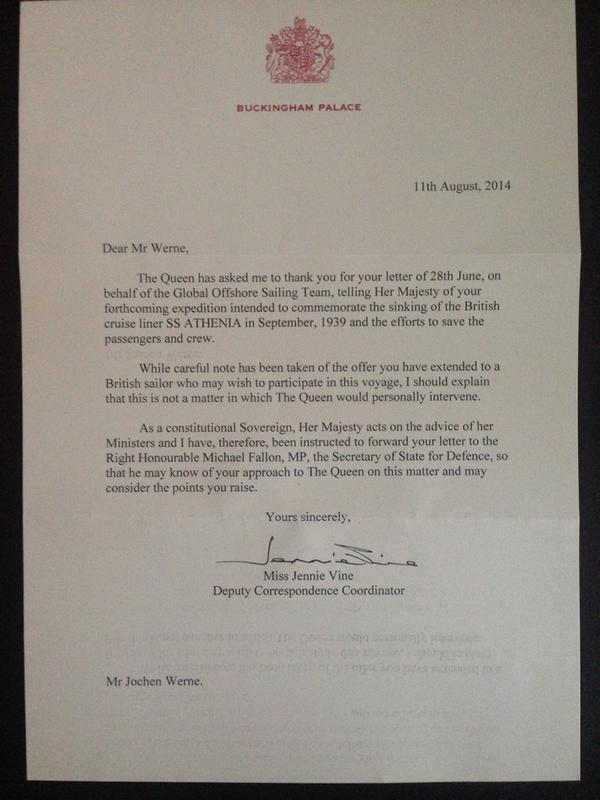Letter from Buckingham Palace on behalf of @GOSTest1999 & #RCPYC Historic Research Expedition 'ATHENIA' arrived. http://t.co/83cSXq57hO