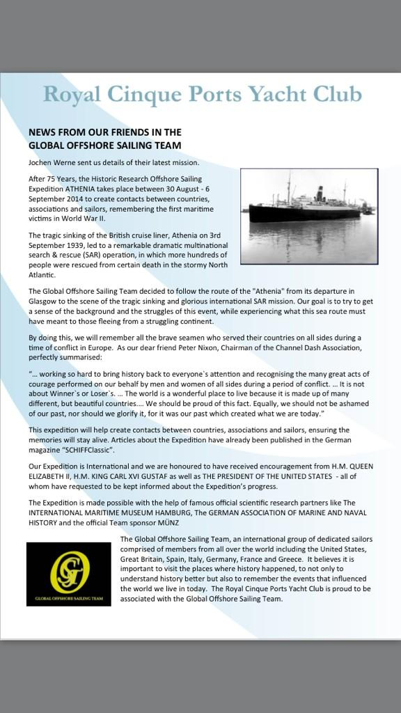 Actual #RoyalCinquePortsYachtClub Newsletter mentioning combined @GOSTest1999 Historic Research Expedition 'ATHENIA' http://t.co/5NpsCYuzYB