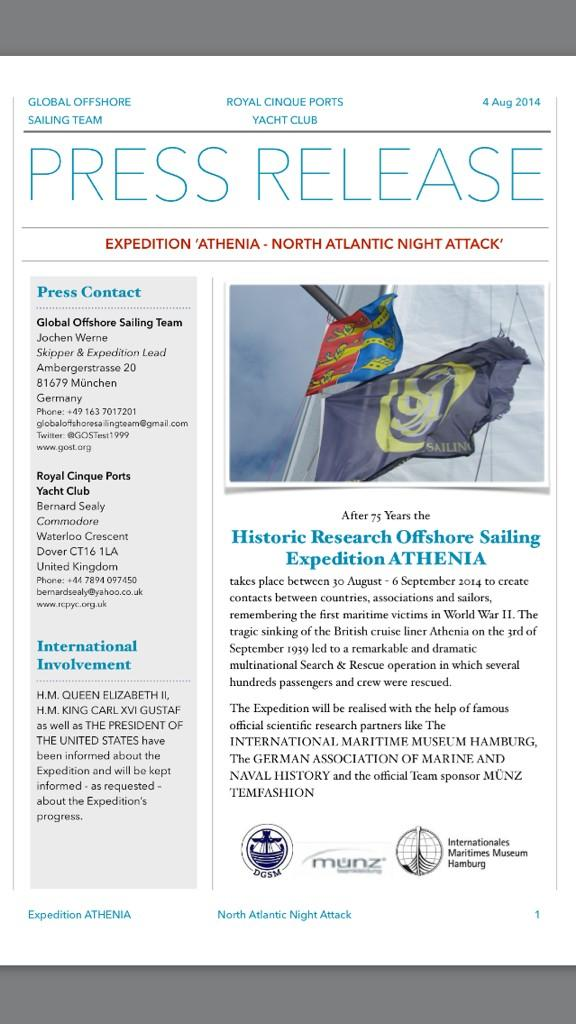 OFFICIAL PRESS RELEASE to the Historic Reasearch & Offshore Sailing Expedtion 'ATHENIA - North Atlantic Night Attack' http://t.co/NBlZ4dxMIJ