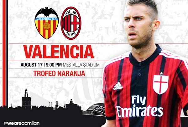 Valencia v AC Milan: Watch a Live Stream of the Trofeo Naranja   available UK