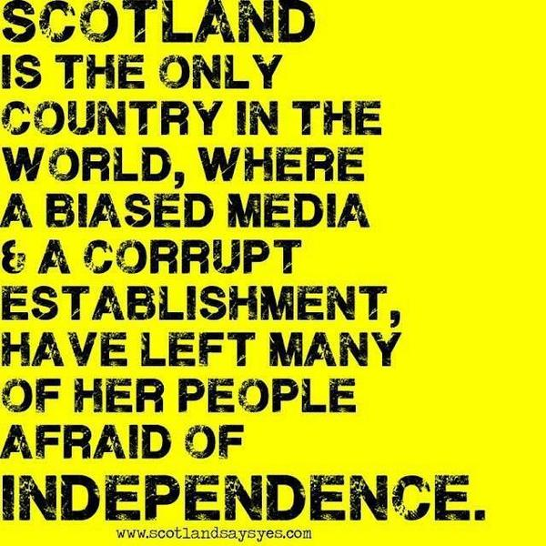 If it's wasn't for a bias media it would be a landslide yes victory @IanIwrussell @misslaurenreid  #VoteYes #IndyRef http://t.co/W317VyYv9c