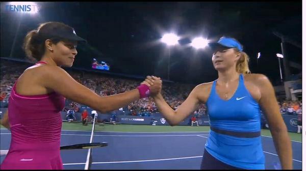 Ana Ivanovic saves 2 match points to beat Maria Sharapova 62, 57, 75 and set up a Serena final clash in Cincinnati http://t.co/dZwZeMGGU2
