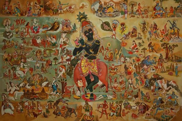 Srimad Bhagavatham. Oil on canvas. 6.5 x 10 ft. 2007. Repost on the occasion of Janmashtami. http://t.co/yyNTxmWgEP