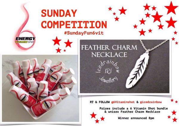 #Comp time RT & follow @6vitaminshot & @icedrainbow to #win a fab 6 vit shot bundle AND feather chain #sundayfun6vit http://t.co/JPQiL3Z7iC