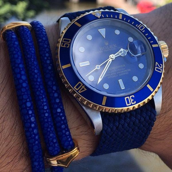 Got Blue?! Rolex put on a custom @whatchs strap along with a #StingHD bracelet, pic by our friends http://t.co/SqqLWT5xnD
