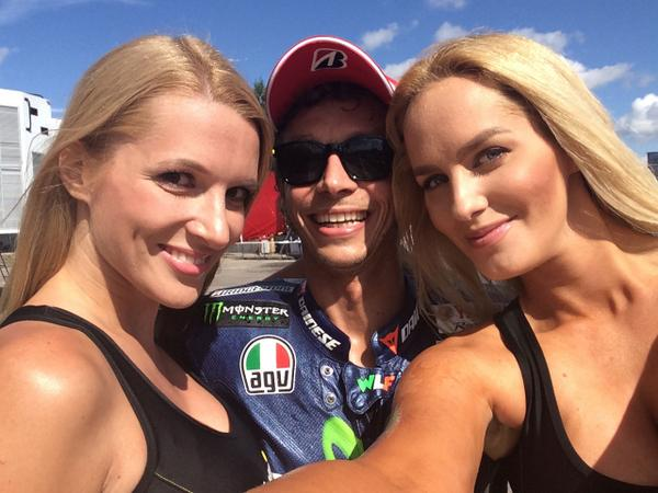 Rossi celebrates with the bwin Sports Girls after his podium finish in Brno. Congratulations @ValeYellow46!  #MotoGP http://t.co/xHtGRJ7ZvB