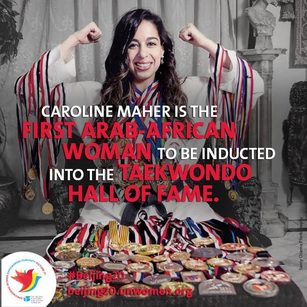 Egyptian, Caroline Maher, first Arab-African female to be inducted into the #Taekwondo Hall of Fame. #Egypt #sports http://t.co/3GIxPg5GdM