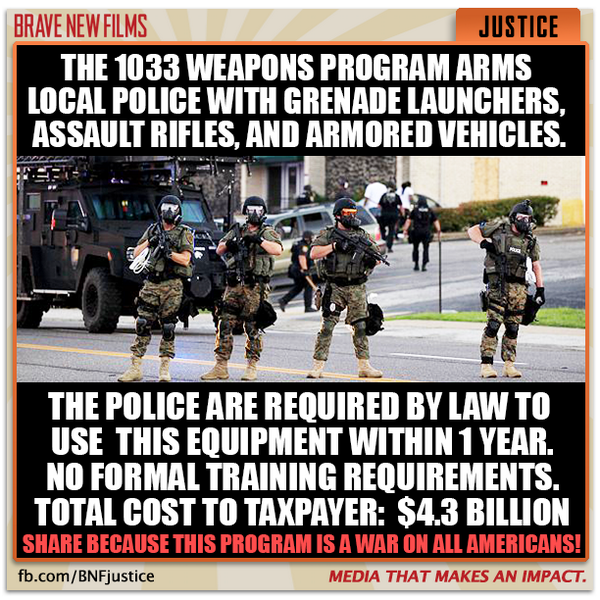 So THAT's why they're using SWAT teams at every opportunity. READ MORE: http://t.co/n6zcTEJHAD #Ferguson #PoliceState http://t.co/DuDpKy4vBu