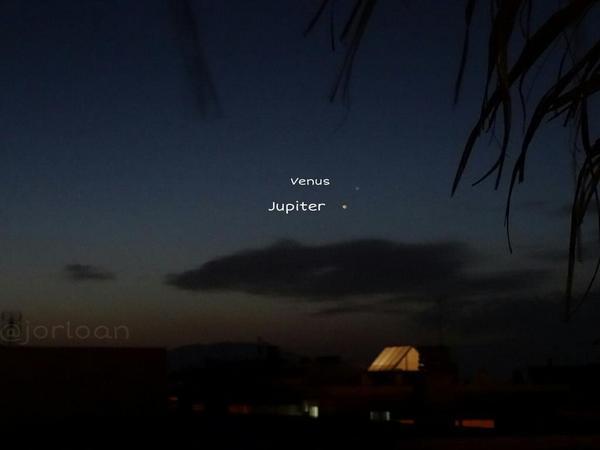 RT @jorloan: Conjunción de Jupiter y Venus desde Totana ( Murcia ) @El_Universo_Hoy @Tokaidin http://t.co/xPwsdVChYz