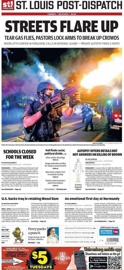 Holy shit, that @PDPJ photo. RT @ScottCharton: St. Louis Post-Dispatch @stltoday Front Page #Ferguson #MichaelBrown http://t.co/RsCeREVMyE