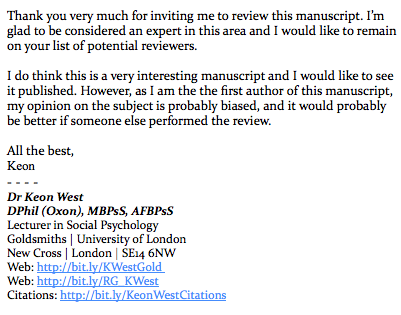 """""""...as I am the first author of this manuscript...it would probably be better if someone else performed the review"""" https://t.co/UkFR0GJ7wn"""