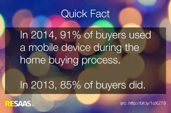 Quick Fact: 91% of buyers used a #mobile device during the home buying process | http://t.co/NQfnb97dCc #realestate http://t.co/qQKczz84Lw